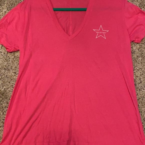 Peloton hot pink embroidered tee shirt large RARE